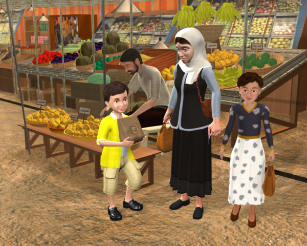 Firdaus Kharas' Hind and Hamza uses an animated family in the Arabic world to teach about human values. Courtesy of Chocolate Moose Media.
